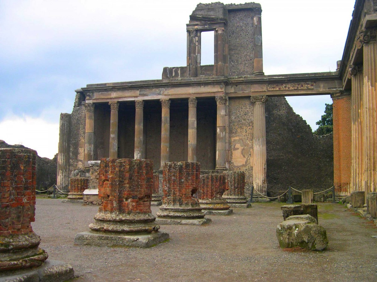 The basilica in the Forum at Pompeii.