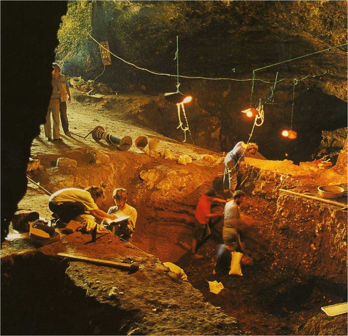 Excavations in Yarimburgaz Cave, Turkey.