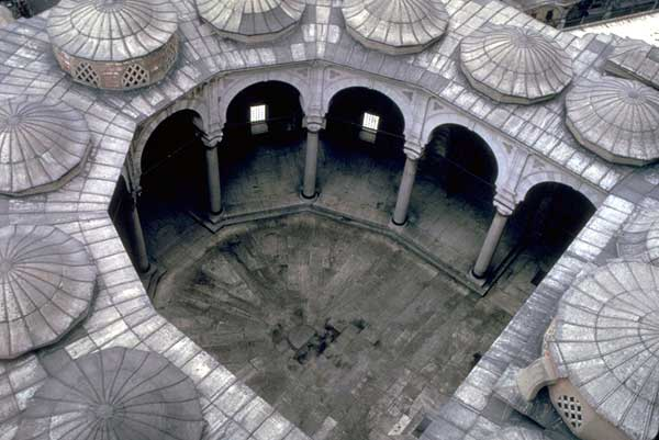 View of the horseshoe-shaped frontal court of the mosque.