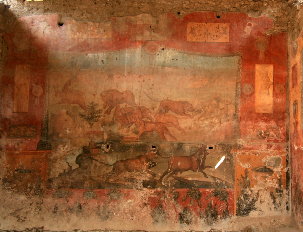 A fresco from Pompeii depicting wild animals.