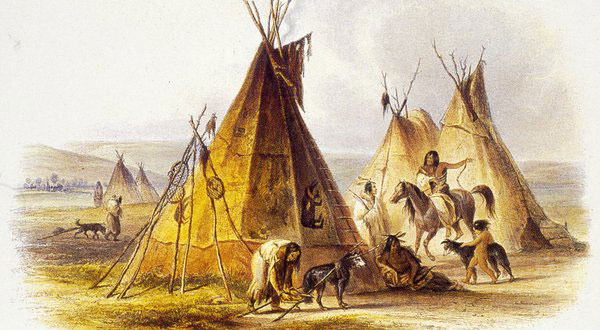 Αn illustration from about 1850 of a dog with a small travois in an Assiniboine encampment.