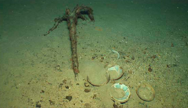 Anchor and glazed plates,