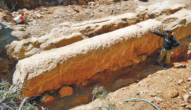 The stone column discovered earlier this week.