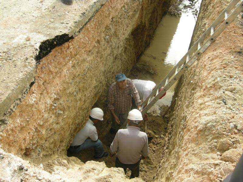 Excavations of the Larnaca grave site revealed by sewerage works.