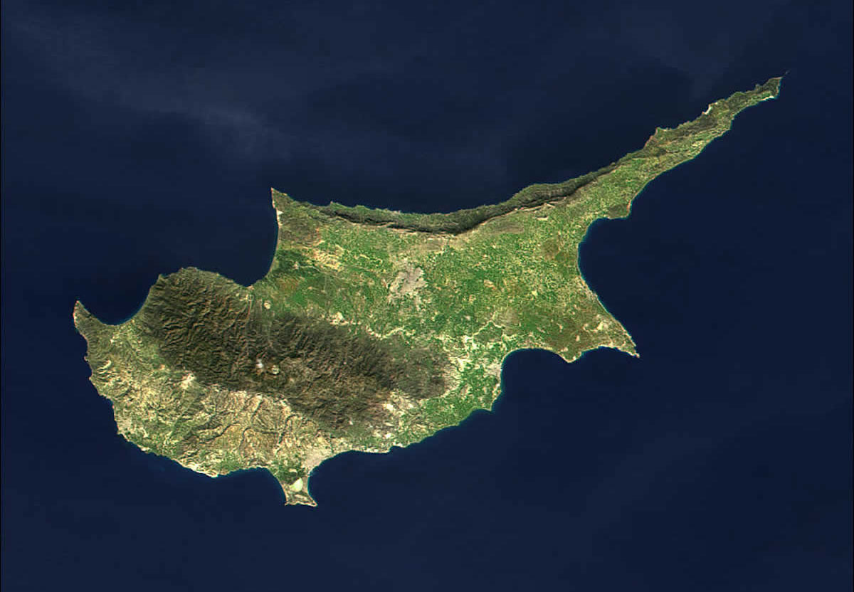 Satellite map of Cyprus.
