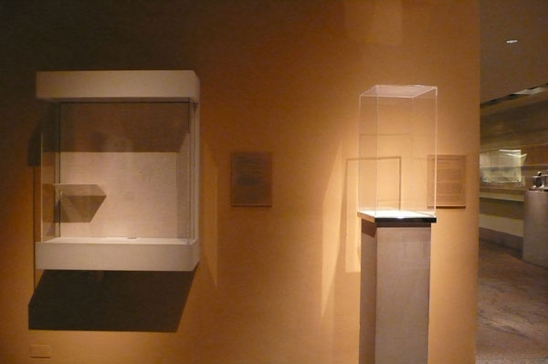 Fragile objects have been removed from their display cases.