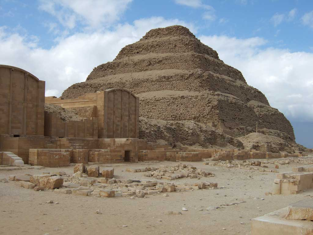 The step pyramid of Saqqara about 30 km south of Cairo.