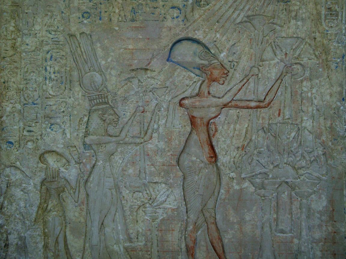 Akhenaten and his family worshipping the Aten.