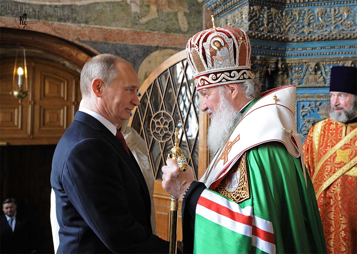 Vladimir Putin and Patriarch Kirill of Moscow on the occasion of the inauguration Putin's as the Russian President.