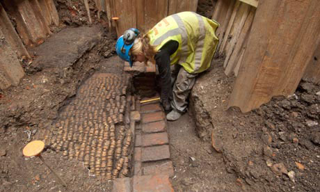 Remains of Shakespeare's Curtain theatre are uncovered in Shoreditch, east London.
