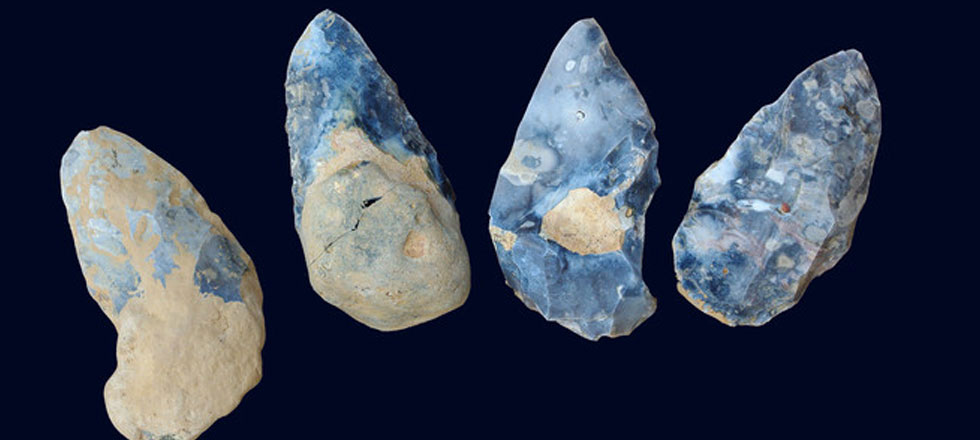 Set of four bifaces found in Acheulean level, dating back at least 300,000 years.