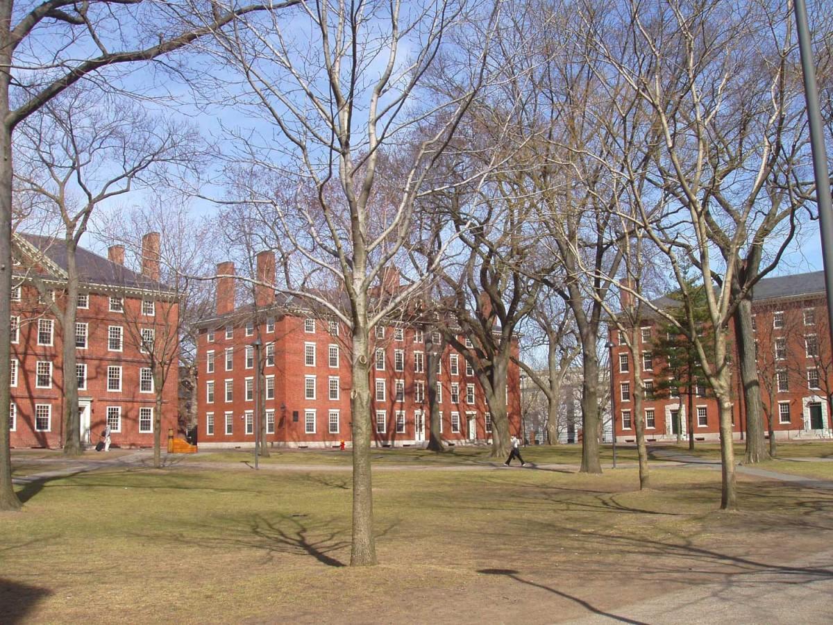 General view of Harvard Yard, Harvard University, Cambridge, Massachusetts, USA.