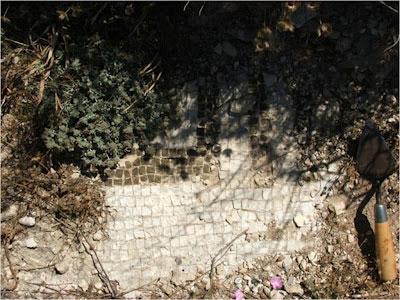 Mosaic floor.