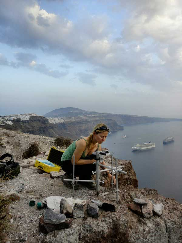 Michelle Parks gets ready to make some GPS measurements on Santorini.