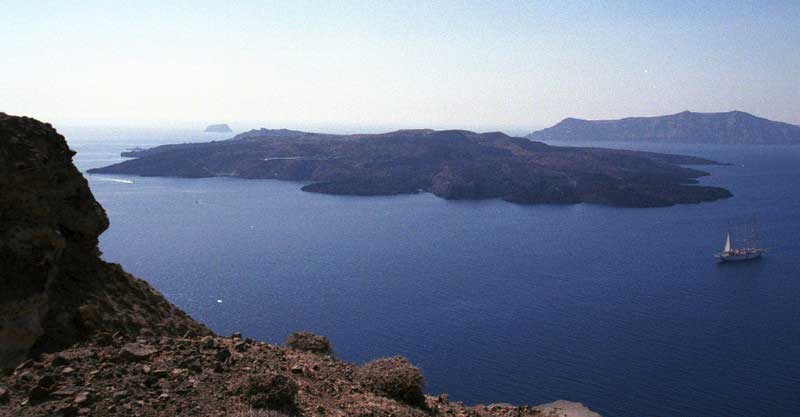 A new survey suggests that the chamber of molten rock beneath Santorini's volcano expanded 10-20 million cubic meters between January 2011 and April 2012. Photo credit: David Pyle.