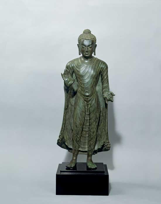 'The Buddha Shakyamuni in Abhaya-mudra', probably Bihar, Gupta Period, India, 6th century.