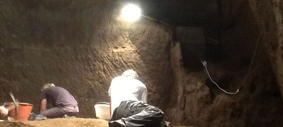 Excavating inside the first ever Etruscan pyramidal structure discovered in Orvieto, Italy.