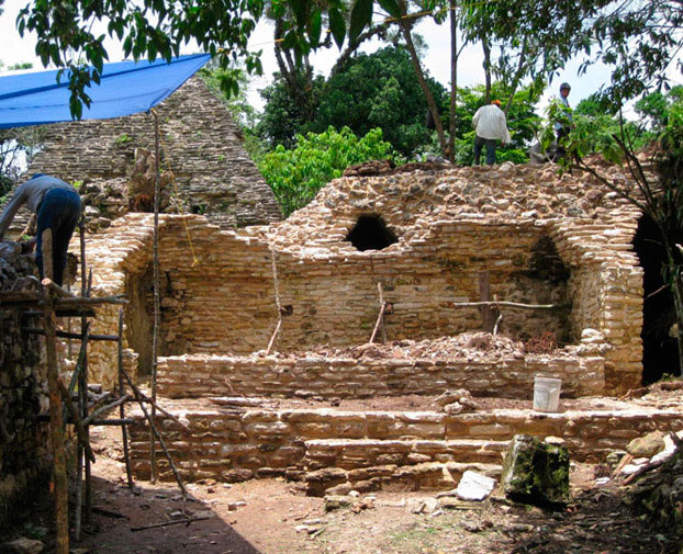 The remains of the Mayan theater found at the archaeological site of Plan de Ayutla, in Ocosingo, Chiapas.