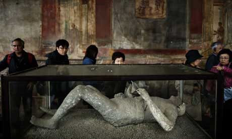 Frozen in time: body cast displayed in the archaeological site of Pompeii.