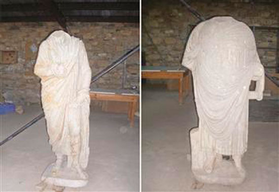 The two big headless statues have been found at the ancient city of Aphrodisias.