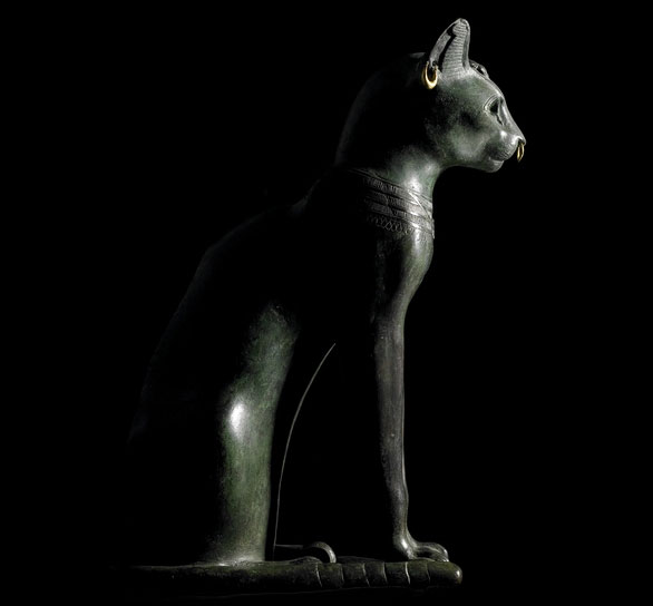 Bronze figure of a seated cat, from Saqqara, Egypt Late Period, after 600 BC.