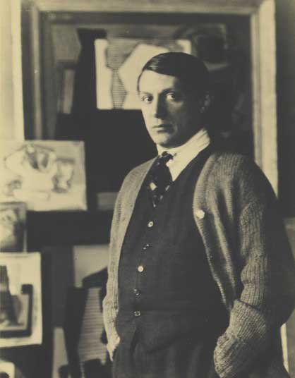 One of the earliest pictures in the exhibition is of a young Pablo Picasso, taken in 1922. Picasso commissioned Man Ray to photograph his paintings, and the photographer took this image at the end of the session.