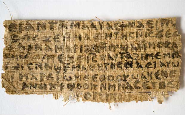 Fourth century fragment of papyrus that divinity professor Karen L. King says is the only existing ancient text that quotes Jesus explicitly referring to having a wife.