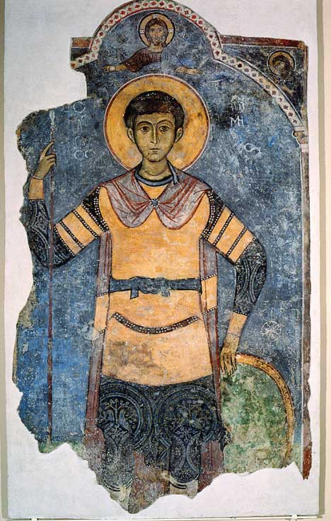 Fresco of the military saint Demetrios of Thessaloniki. 13th century. Museum of the Monastery of Kykkos, Cyprus.