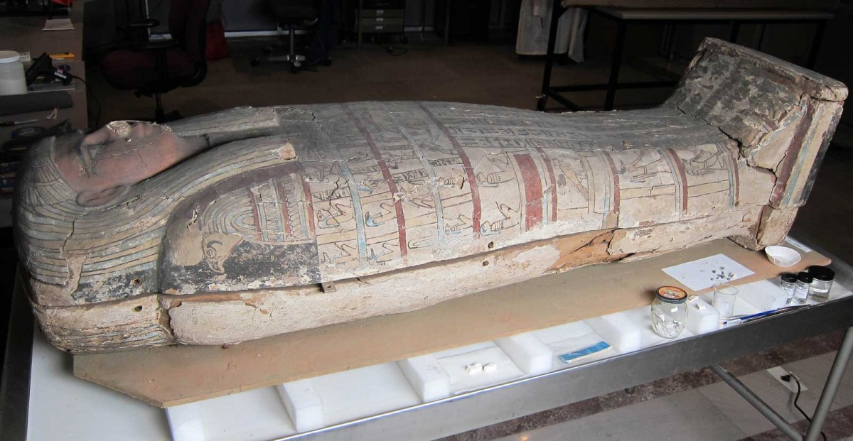 Painted wood coffin from the Late Period, post-558 BC.