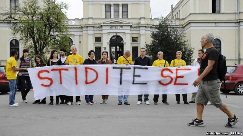 Protest against the closure of the National Museum, with a banner saying