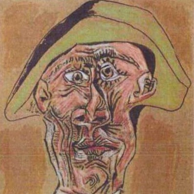 The 1971 painting 'Harlequin Head' by Pablo Picasso. (AP Photo/Police Rotterdam)