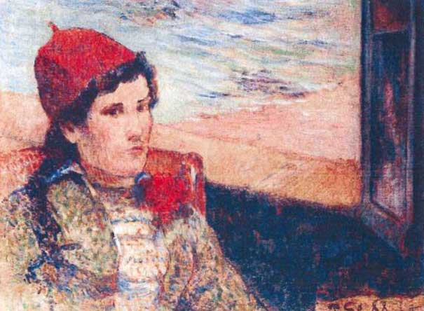 The 1898 painting 'Girl in Front of Open Window' by Paul Gaugain. (AP Photo/Police Rotterdam)