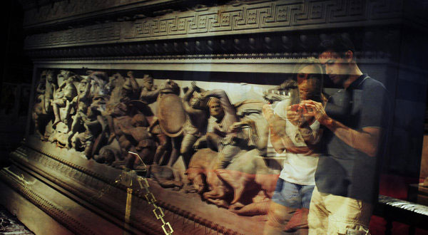Visitors at the Archaeology Museum in Istanbul with the Alexander Sarcophagus, which was dug up in Ottoman times.