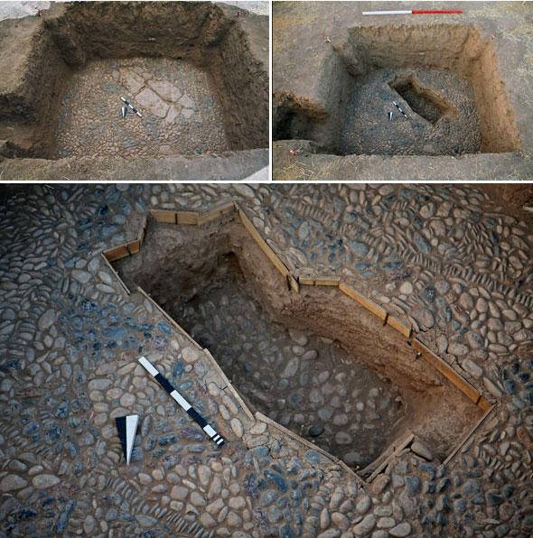 The photograph shows before (left) and after (right) of the sounding beneath the stones. Care was taken not to damage the mosaic and the large stones were replaced exactly in their original position.