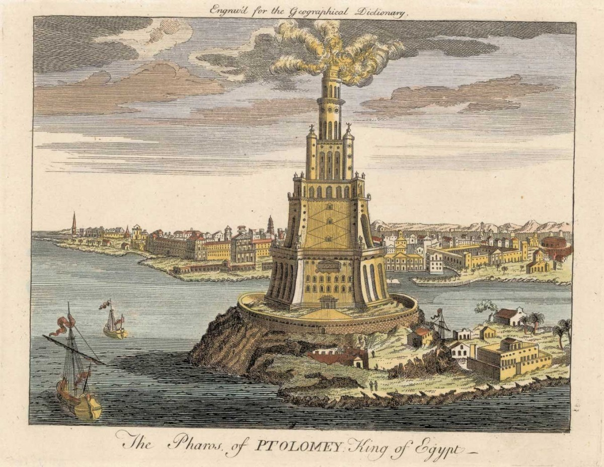 The Lighthouse of Alexandria. A fire made the lighthouse glow at night and a mirror reflected sun rays during the day, some say up to 35 miles away.