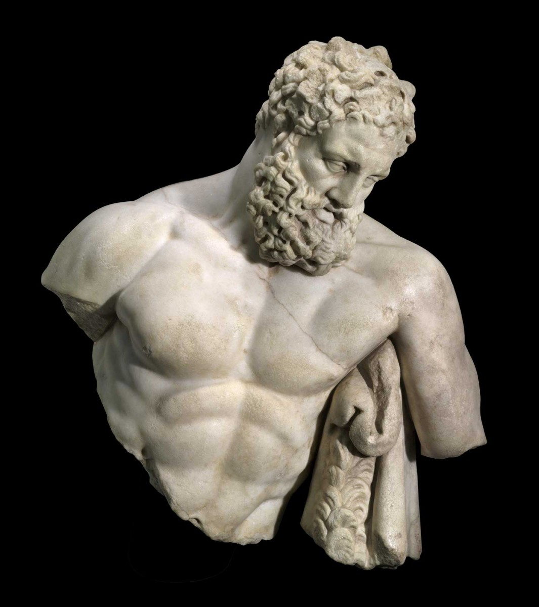 The top half of the 2nd-century AD Roman Imperial marble sculpture