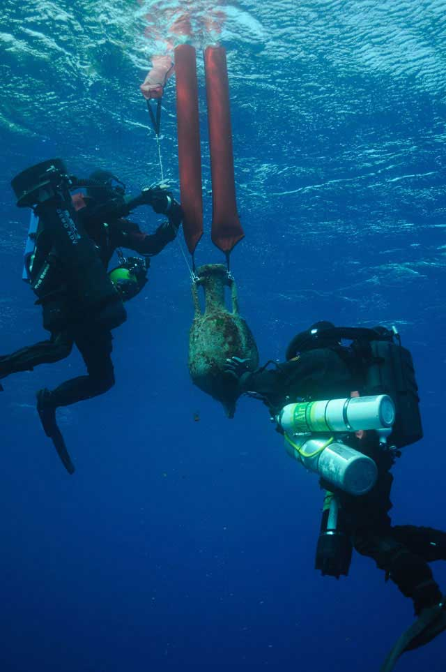 Underwater surveys at the Antikythera Shipwreck site were conducted by Greek and American marine archaeologists.