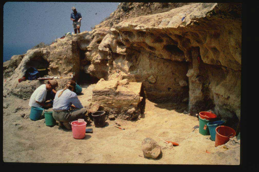 Excavation at Akrotiri Aetokremnos, a site in Cyprus dating back to about 10,000 BC where pygmy hippo fossils were found. (Credit: Alan Simmons)