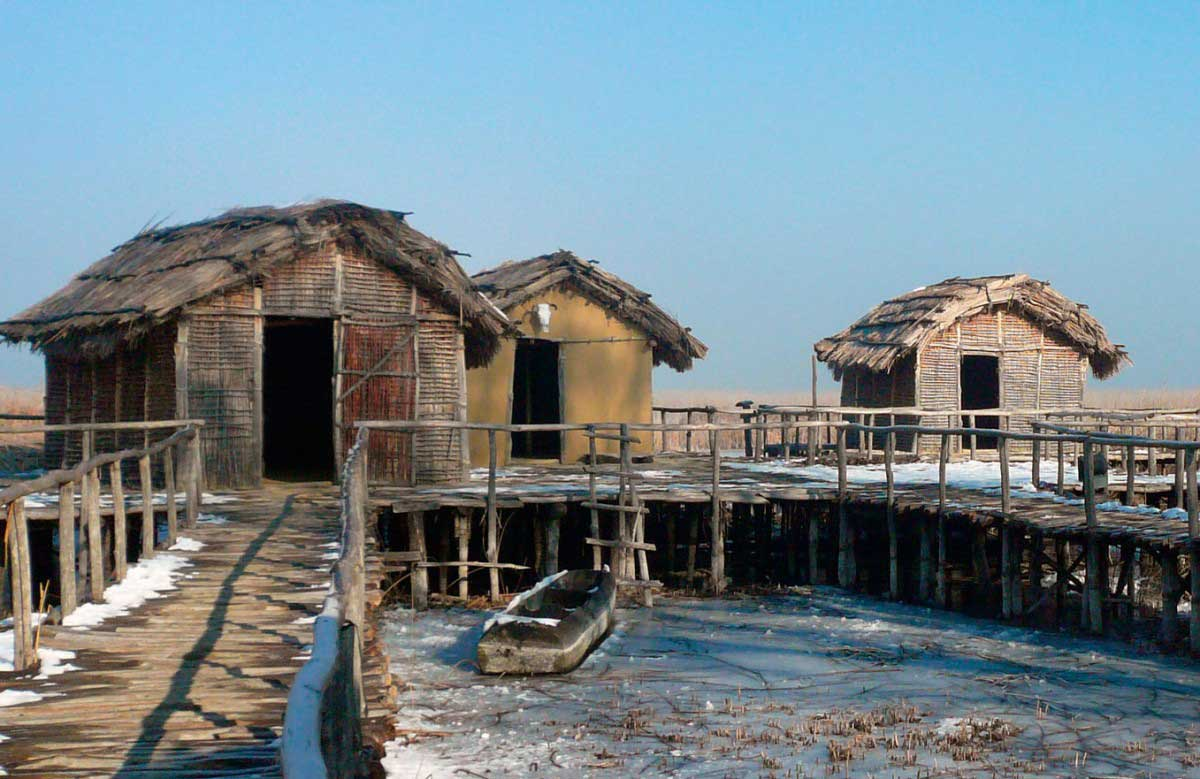 Reconstructed houses in Dispilio.