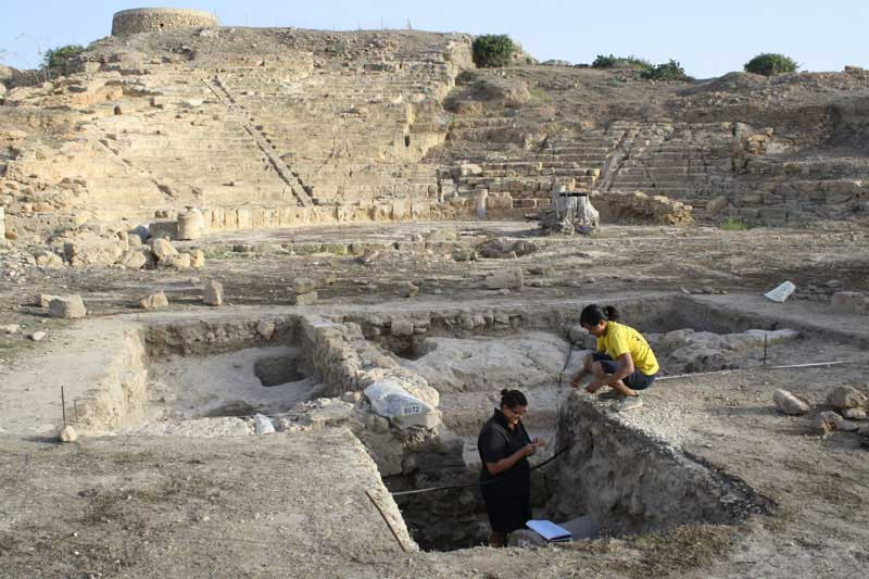 Archaeologists working at the theatre of Nea Paphos on the southern slope of Fabrika hill.