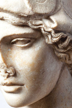 Bust of Athena (detail), c. 2nd century a.d. Roman. Anonymous loan. (Photo by Erika Dufour)