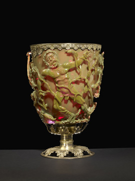 The Lycurgus Cup, 4th century a.d. Roman. The Trustees of the British Museum. Purchased from Lord Rothschild with a contribution from the National Art Collection Fund. © Trustees of the British Museum.