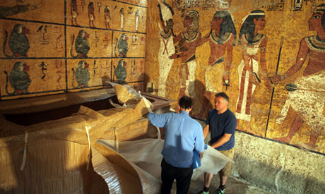 Construction works of Tutankhamun's replica tomb.
