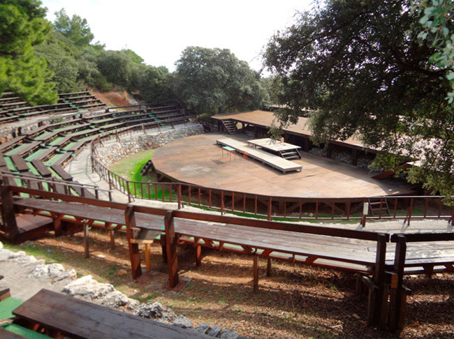 The ancient theatre of Samos, with the wooden structure.