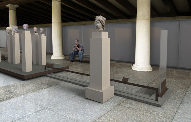 """View of the exhibition """"Examples of Sculpture in the Athenian Agora""""."""