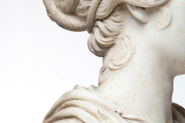 Portrait Bust of a Woman (detail), Roman, Antonine Period, 140-150 AD. (Photo: Erika Dufour)