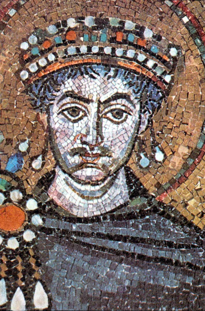 Emperor Justinian I (482-565) reigned at the time Malalas wrote his history. Detail of a mosaic in San Vitale in Ravenna.