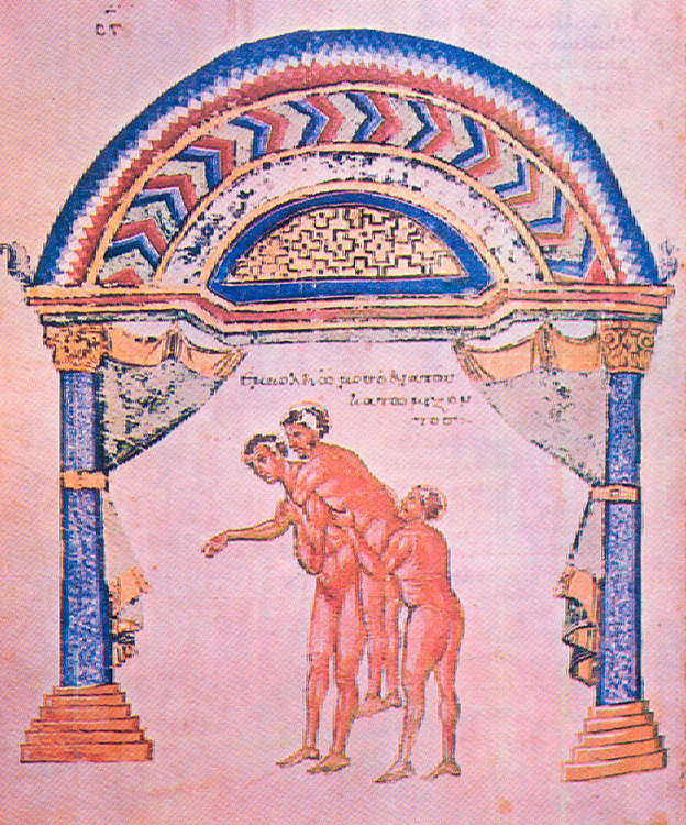 Fig. 10. Resetting of dislocation. 10th c. Miniature in medical code of Apollonius of Kition  «Περί ἄρθρων» (Florence, Laurentiana, cod. Plut. LXXIV, 7, f. 197r).