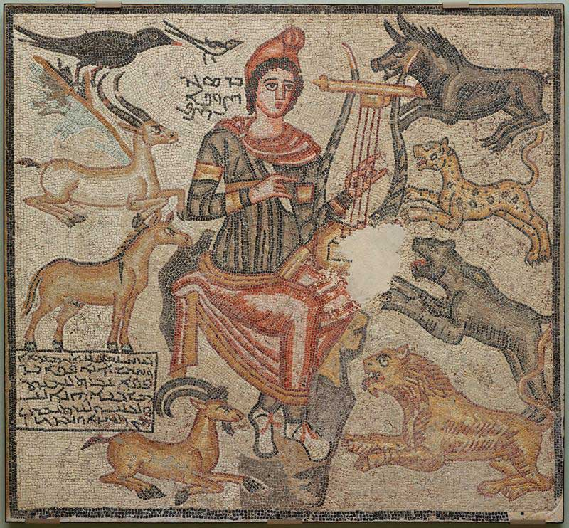 The mosaic depicts the mythic poet Orpheus playing his lyre to calm wild animals. The mosaic originally decorated a Roman building.
