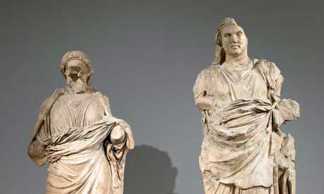 Two marble statues from the Mausoleum of Halicarnassus.